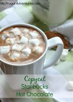 with a Copycat Starbucks Hot Chocolate Recipe (Quick & Easy directions in link!) This is so rich & creamy-- much better then the packet stuff! Hot Chocolate Recipe Quick, Homemade Hot Chocolate, Homemade Applesauce, Yummy Drinks, Yummy Food, Café Chocolate, Starbucks Recipes, Starbucks Hot Cocoa Recipe, Smoothie Drinks