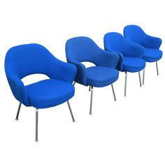 View this item and discover similar for sale at - Four vintage, bright-blue Executive arm chairs by Eero Saarinen for Knoll International. Steel legs and nearly flawless, blue fabric upholstery make this Yves Klein Blue, Eero Saarinen, Modern Armchair, Blue Fabric, Upholstery, Arm Chairs, Dining Room, Antique, Vintage