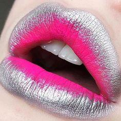 silver metallic outer through to matte neon pink lip makeup #pinklipsart #pinklipsmatte