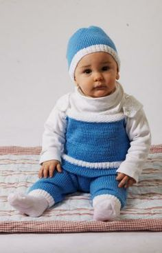 Baby's Overall and Cap Free Knitting Pattern from Red Heart Yarns
