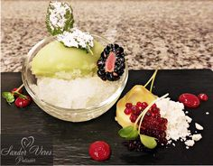 Shiso-Kresse-Sorbet auf Zitronen-Eiscrash