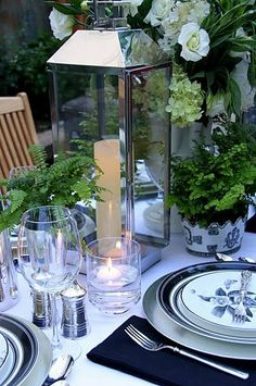 Garden wedding table with lantern, ferns and flowers #Blue Wedding Reception ... Wedding ideas for brides, grooms, parents & planners ... https://itunes.apple.com/us/app/the-gold-wedding-planner/id498112599?ls=1=8 … plus how to organise an entire wedding, without overspending ♥ The Gold Wedding Planner iPhone App ♥