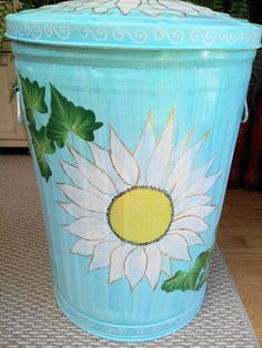 Decorative Hand Painted 20 Gallon Galvanized Metal Trash/Garbage/Storage Can w/Side Handles and Tight fit lid - Aqua color wash Painted Trash Cans, Paint Cans, Painting Galvanized Metal, Garbage Storage, Painted Mailboxes, Garbage Can, Aqua Color, Diy Gifts, Painted Furniture