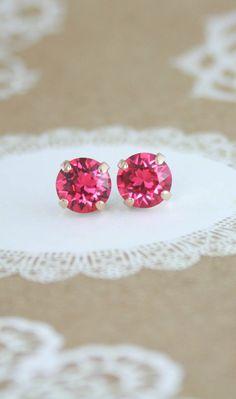 Pink crystal earrings   Swarovski Indian Pink crystal earrings by #EndoraJewellery   pink wedding   tropical wedding   hot pink wedding   www.endorajewellery.etsy.com