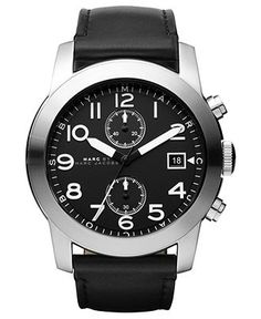 Marc by Marc Jacobs Watch, Men's Chronograph Black Leather Strap 46mm MBM5033 - Men's Watches - Jewelry & Watches - Macy's