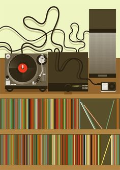 Living room and stereo system for 'HOME' Exhibition, illustration by Stanley Chow, London. Music Illustration, Graphic Design Illustration, Graphic Art, Lps, Stanley Chow, Vinyl Junkies, Modern Crafts, Smart Art, Music Images