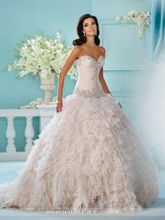 David Tutera - Strapless tulle and organza ball gown, sweetheart neckline and hand-pleated dropped waist bodice trimmed with metallic embroidery and rich jewel beaded motif, voluminous skirt with mult
