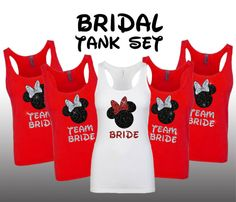 Featured here is a set of Womens tank tops with glitter writing saying -- Bride and Team Bride. Perfect for the bachelorette party, as well as