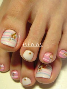 Pedicure, Toe nail Art: pink, white, blue Stripes. Cute! But I don't care for the bling...I could do without that. lol.