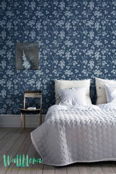 Forget-me-not Blue and White Pattern Wallpaper | Removable Vintage Wallpaper | Blue Wallpaper | Wall Sticker | Wall Decal | Self Adhesive