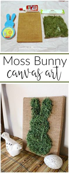 Such a great way to add inexpensive spring decor--moss covered bunny canvas art