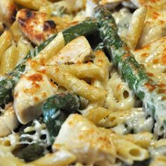 Chicken & Asparagus Penne 1 lb Asparagus- Steamed 12 oz Penne- Cooked,1/4 C Oil 1 lb Chicken Breast- Cubed and Cooked 1/2 C Shredded Parmesan Add all ingredients into a 9 x13 pan and stir to combine. Top with Cheese and Broil for 5 minutes or until cheese is golden.