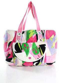 Emilio Pucci Multi-Color Abstract Printed Large Tote Handbag