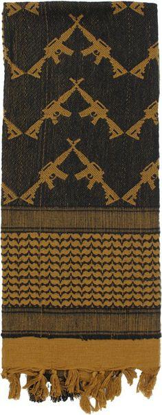 Coyote Brown Shemagh Arab Tactical Desert Keffiyeh Scarf w/ Crossed Rifles | 8737 COYOTE | $9.99