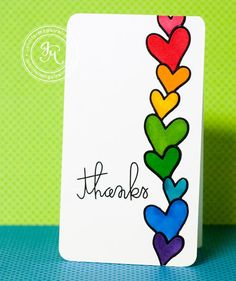 I have two simple cards. cards that take my back to my childhood. I was obsessed with rainbows as a kid. Especially rainbow stickers. Tarjetas Diy, Jennifer Mcguire Ink, Rainbow Card, Kids Rainbow, Rainbow Room, Heart Cards, Watercolor Cards, Cute Cards, Creative Cards