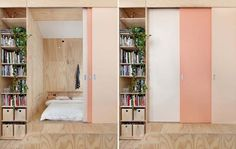 three-toned door (ghostly pale pink + slightly darker almost peach-y pink + salmon-colored pink)