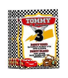 Personalized Cars Birthday Invitations on Etsy, $10.00