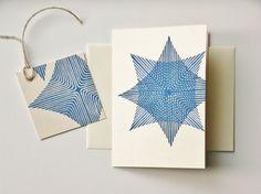 blue star original lino printed folded 4 x 6 card by RubiaCraft