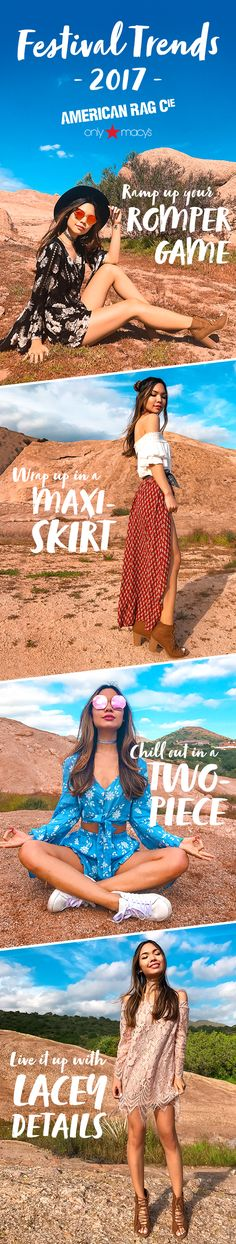 Festival trends we're loving this season on Tiffany Ma:  Florals, lace, rompers, crop tops, boho prints, maxi skirts, off-the-shoulder tops.  Don't forget colored sunglasses, beachy waves, and a western-inspired hat for all-day dancing in the desert sun.
