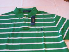 Polo Ralph Lauren Men's short sleeve shirt XL green white striped cotton NWT…