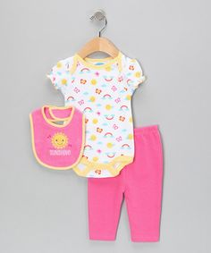Take a look at this White & Fuchsia Sunshine Bodysuit Set by bon bébé on #zulily today!