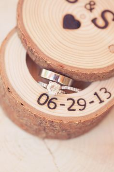 Wedding date wood keepsake for rings! Great Idea for nightstand!