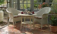 A wide selection of Lloyd Loom conservatory and garden room furniture in a variety of styles and colours. Find the perfect Lloyd Loom chair, sofa or dining Set. White Wicker Furniture, Wicker Bedroom, Wicker Chairs, Wicker Baskets, Conservatory Furniture, Sunroom Furniture, Conservatory Ideas, Garden Furniture, Outdoor Sofa Sets