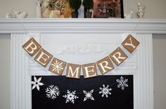 Be Merry Christmas Decor, Christmas Decoration, Be Merry Banner, Christmas Banner, Christmas Banner, Snowflake Garland, Winter Decor