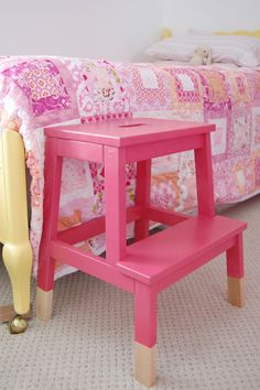 Ikea step stool painted with Watermelon spray paint via ICanCraftThat