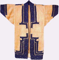 Attush (coat), Ainu People Hokkaido, Japan, late c. Elm bark with applique Japanese cotton and embroidery 117 x 117 cm x Attush garments are closely related to the Ainu's animistic belief that spiritual beings reside. Japanese Cotton, Japanese Kimono, Kimono Design, Textile Design, Ainu People, Indigo, Japanese Costume, Japanese Textiles, Clothing And Textile