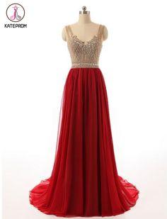 Elegant V Neck Red Beaded Bridesmaid Dresses, Red Prom Dress, Beautiful Floor Length Backless Chiffo on Luulla Prom Dresses For Teens, V Neck Prom Dresses, A Line Prom Dresses, Beautiful Prom Dresses, Bridesmaid Dresses, Party Dresses, Prom Gowns, Quinceanera Dresses, Glamorous Dresses