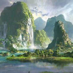 ArtStation - qingkai yang Fantasy Art Landscapes, Fantasy Landscape, Landscape Art, Beautiful Landscapes, Landscape Paintings, Fantasy City, Fantasy Places, Fantasy World, Fantasy Concept Art