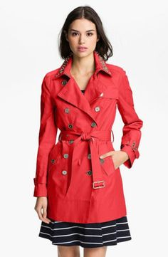Sam Edelman Embellished Collar Trench Coat available at Nordstrom Wedding Gown Sizes, Playing Dress Up, Trench, White Lace, Bridal Dresses, Nordstrom, Leather Jacket, My Style, Studded Collar