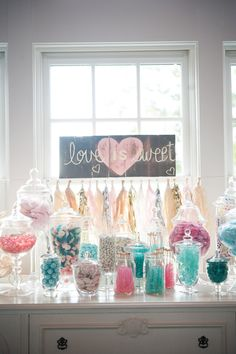 The prettiest pastel-colored candy bar . Perfect for a wedding, bridal shower, or party. love is sweet Décoration Candy Bar, Candy Bar Wedding, Wedding Reception, Our Wedding, Wedding Ideas, Reception Ideas, Wedding Pictures, Wedding Details, Wedding Poses