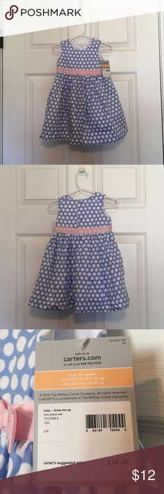 Carter's Dress-light blue with polka dots Light and airy woven cotton dress. 100% cotton body with 100% polyester lining. Machine wash and dry. Carter's Dresses