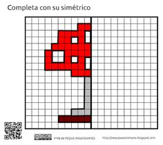 Peque-pasatiempos: Simétricos - PEQUE-PASATIEMPOS nº48 Coding For Kids, Math For Kids, Activities For Kids, Graph Paper Drawings, Easy Cartoon Drawings, Free Printable Puzzles, Occupational Therapy Activities, Math School, Drawing Games