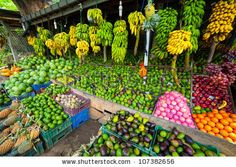 A Lot Of Tropical Fruits In Outdoor Market In Sri-Lanka Stock ...