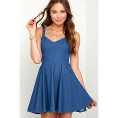 Rhythm Birkin Blue Chambray Skater Dress
