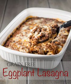 Using roasted eggplant instead of noodles, this is a lighter, healthier version of the Italian comfort food! #Paleo #Primal #GrainFree #GlutenFree #NutFree #lasagna #eggplant