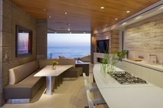 Hill Construction Company La Jolla / San Diego Custom Home - Marine Lair Living Room and Kitchen