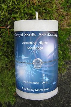 This Crystal Skulls Awakening Candle is made with Pure Frankincense Essential Oil and scented with Lotus. This is a white, Natural Aromatherapy Candle that comes with a real crystal skull made of clear quartz tied with silver cord. Essential Oil Candles, Frankincense Essential Oil, Essential Oils, Candy Skulls, Aromatherapy Candles, Mind Body Soul, Crystal Skull, Altered Books, Candle Making