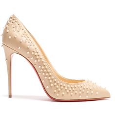 Christian Louboutin Escarpic 100mm embellished leather pumps (€895) ❤ liked on Polyvore featuring shoes, pumps, louboutin, nude multi, pointed-toe pumps, red sole pumps, spiked shoes, nude shoes and christian louboutin pumps