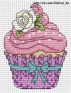 Cupcake Cross Stitch by ElockaCreations on Etsy Cupcake Cross Stitch, Kawaii Cross Stitch, Mini Cross Stitch, Cross Stitch Flowers, Counted Cross Stitch Patterns, Cross Stitch Designs, Cross Stitch Embroidery, Hand Embroidery, Cross Stitch Boards