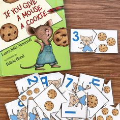 free printable cookie counting puzzles -If you give a mouse a cookie #cookiemath #counting #kindergarten #preschool #bookactivity