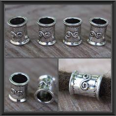 8 Large Hole Tibetan Silver DREADLOCK BEADS 9mm Hole DREAD Hair Beads by lyndar85 on Etsy
