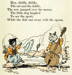 The Cat and the Fiddle, and the Dish Ran Away with the Spoon from Journeys through Bookland : a new and original plan for reading applied to the world's best literature for children, by Charles Herbert Sylvester, 1922.  Illustration by Herbert N. Rudeen.