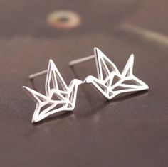 925 Sterling Silver Earrings Simple Paper Crane Stud Earings for women Girl fashion jewelry Pendientes Plata brincos pequenos