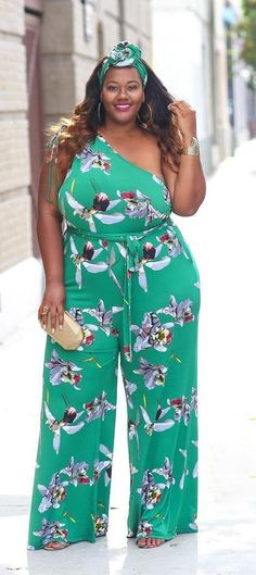 Lovely   colorful asymmetrical jumpsuit in light green with print b02edc21c