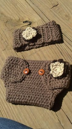 Crochet Nappy Diaper Cover and matching Head band by GreenWeasel, $22.00