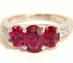GIA 3.00CT NATURAL RED NO HEAT RUBY DIAMONDS RING 18KT : Lot 766